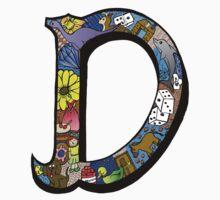 Doodle Letter D One Piece - Long Sleeve