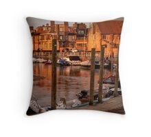 Bathed in golden light - Blakeney quay  Throw Pillow