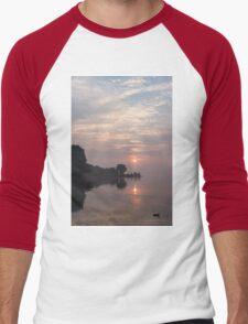 Soft Dawn - Pink Fog, Placid Water and a Duck  Men's Baseball ¾ T-Shirt