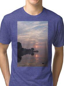 Soft Dawn - Pink Fog, Placid Water and a Duck  Tri-blend T-Shirt