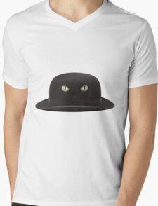 Black Cat Hat Mens V-Neck T-Shirt