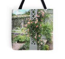 Peach & Green Trellis Tote Bag