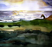 Ocean View with Natural Arch, Carmel, CA by watercolors1