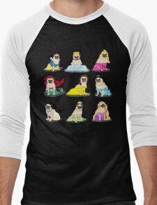 Pug Princesses Version 2 Men's Baseball ¾ T-Shirt