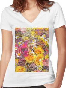 Yellow roses Women's Fitted V-Neck T-Shirt