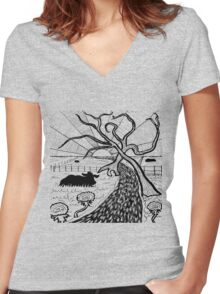 Rural Sunset in ink Women's Fitted V-Neck T-Shirt