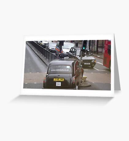 Crashed London Taxi Cab Greeting Card