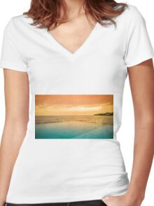 Swimming pool Women's Fitted V-Neck T-Shirt