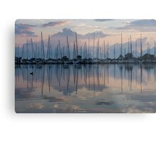 Pink, White and Blue Silky Mirror - Boat Reflections and a Grebe Metal Print