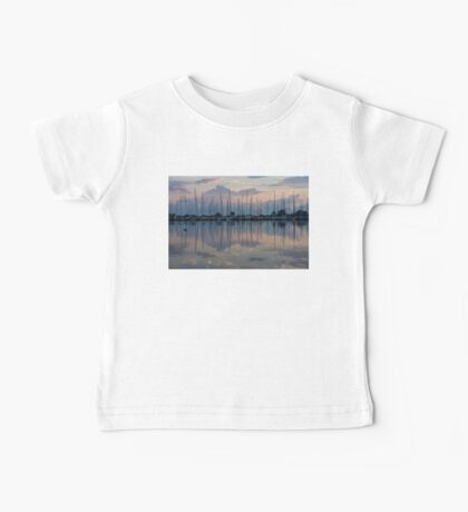 Pink, White and Blue Silky Mirror - Boat Reflections and a Grebe Baby Tee