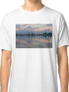 Pink, White and Blue Silky Mirror - Boat Reflections and a Grebe Classic T-Shirt