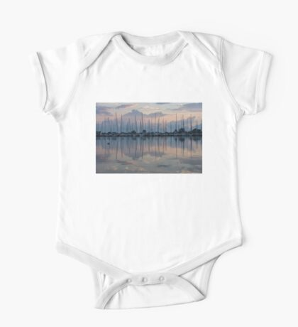 Pink, White and Blue Silky Mirror - Boat Reflections and a Grebe One Piece - Short Sleeve