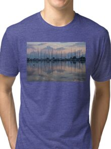 Pink, White and Blue Silky Mirror - Boat Reflections and a Grebe Tri-blend T-Shirt