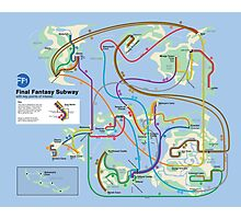 Final Fantasy Subway - NES Maps Series Photographic Print