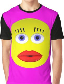 Smiley Female With Big Lips Graphic T-Shirt