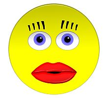 Smiley Female With Big Lips Photographic Print