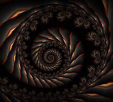Black Spiral Fractal by Kitty Bitty