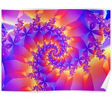 Multi-Coloured Spiral Fractal Poster