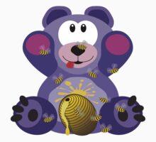 Purple Teddy Bear With Honey Kids Tee