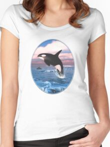 Killer Whales In The Arctic Ocean Women's Fitted Scoop T-Shirt