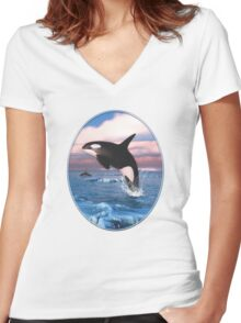 Killer Whales In The Arctic Ocean Women's Fitted V-Neck T-Shirt