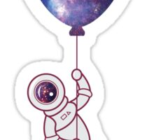 Cosmonaut dreamer flying with a balloon Sticker