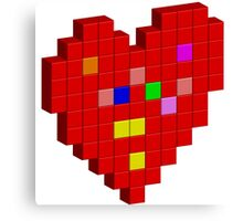 Pixel Red Heart Canvas Print