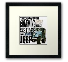 Stiles in a blue Jeep Framed Print