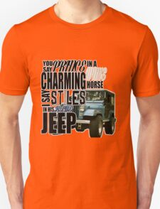 Stiles in a blue Jeep Unisex T-Shirt