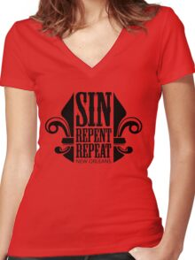 Sin, Repent, Repeat Women's Fitted V-Neck T-Shirt