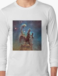 Pillars of Creation Eagle Nebula Messier 16 M16 NGC 6611 Long Sleeve T-Shirt
