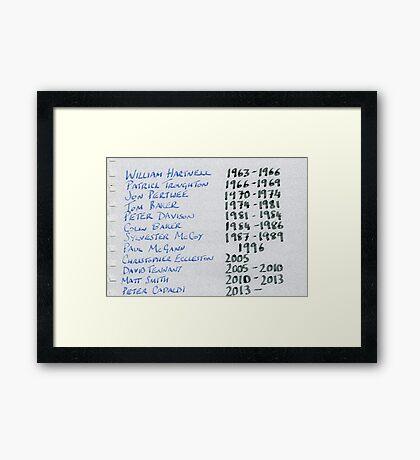 Doctor Who Artwork - The Doctors Chronology Framed Print