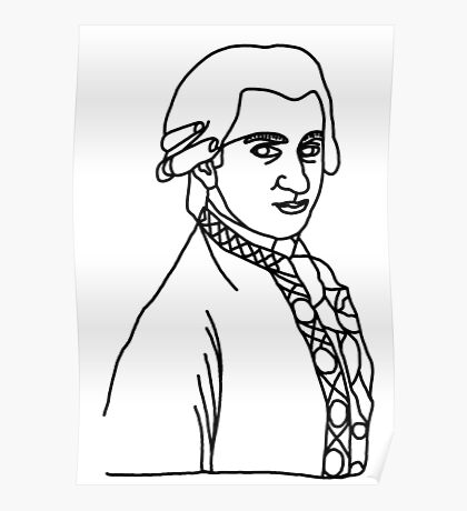 Wolfgang Amadeus Mozart One Line Poster