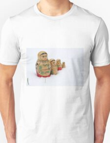 Russian dolls in snow Unisex T-Shirt