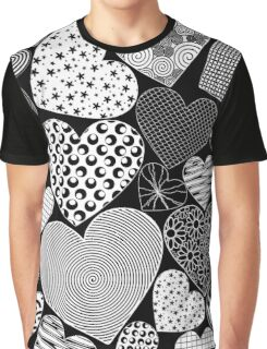 Love Hearts Doodle Art Pattern Graphic T-Shirt