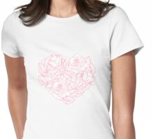 Line Rose Pattern Womens Fitted T-Shirt
