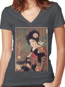 Vintage poster - Sakura Beer Women's Fitted V-Neck T-Shirt