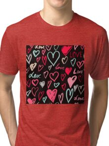 Dark romantic pattern with hand painted hearts Tri-blend T-Shirt
