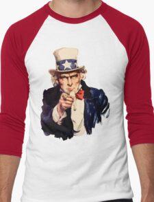 Uncle sam i want you watercolor Men's Baseball ¾ T-Shirt