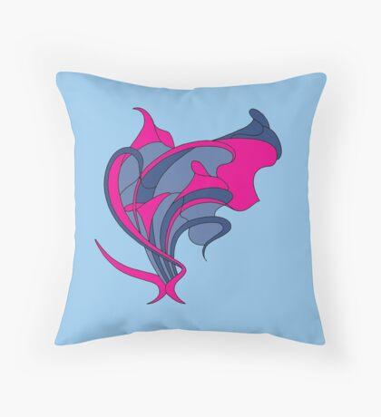 Butterfly swirl, modern art nouveau blue cerise Throw Pillow