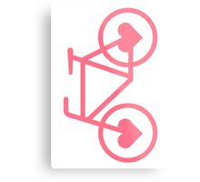 Pink Bicycle Love - Fixie Hearts Metal Print