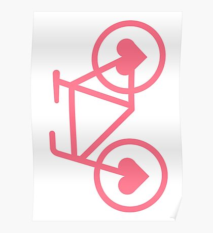 Pink Bicycle Love - Fixie Hearts Poster