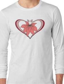 Love, heart with flower, pink red Long Sleeve T-Shirt