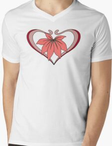 Love, heart with flower, pink red Mens V-Neck T-Shirt
