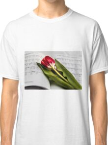 Tulip laid on music book Classic T-Shirt