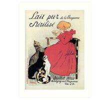 Famous art nouveau milk advert, girl, cats, by Steinlen Art Print