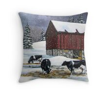 Cows in Snowy Barnyard, Original Painting, Farm Animals Throw Pillow