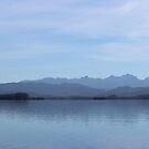 Bathurst Harbour serene water and mountains by gaylene