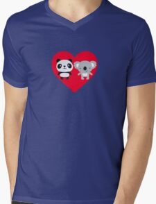 Panda and Koala Love Mens V-Neck T-Shirt