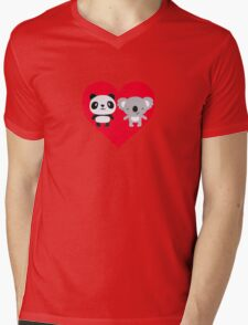 Panda and Koala Love Mens V-Neck T-Shirt